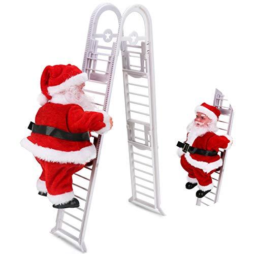 Santa Claus Climbing Ladder Christmas Decoration, Jhua Electric Santa Climbing Ladder Up and Down Christmas Ornaments with Music Creative Electric Santa Claus Ladder Toy Plush Doll for Xmas Holiday