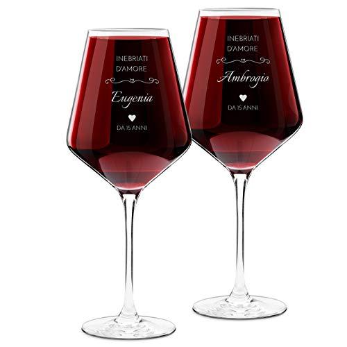 Murrano Calici da vino Avant-Garde - incisione personalizzata - 490 ml - set da 2 pezzi in vetro - ideale per vino rosso e bianco - regalo di anniversario unico per coppia - inebriati d'amore