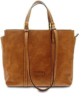 GIUDI ® - Borsa Donna in pelle vacchetta nuvolata, shopping, vera pelle, Made in Italy. (Marrone)