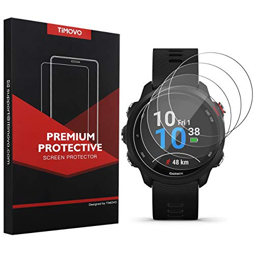 TiMOVO 5-Pack Tempered Glass Screen Protector for Garmin Forerunner 245, Premium 2.5D Arc Edges 9H Hardness HD Clear Watch Protective Film – Clear