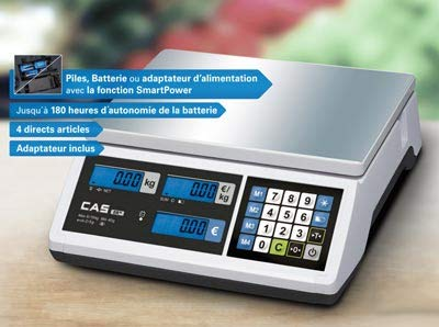Báscula de pesos homologada para la venta con pilas y batería, 3/6 kg, 1/2 g, carga mínima: 20 g.