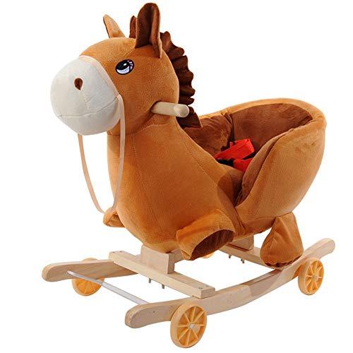 WANGXN kinderschommelpaard baby dual-gebruik baby schommelstoel hout met muziek Trojan Baby Shaker 6-36 maanden