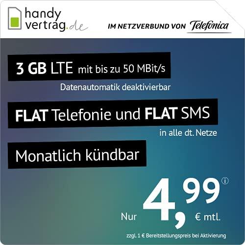 handyvertrag.de LTE All 3 GB - monatlich kündbar (Flat Internet 3 GB LTE mit max. 50 MBit/s mit deaktivierbarer Datenautomatik, Flat Telefonie, Flat SMS und EU-Ausland, 4,99 Euro/Monat)