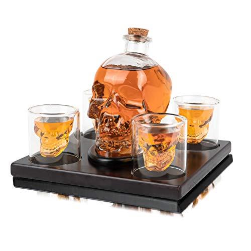 Whisiskey® Whisky karaffe - Schädel - Whiskey Set - 900 ml - Geschenke für Männer - Vatertagsgeschenke - Inkl. 9 Whisky-Steine, Schenktülle und 4 Gläser