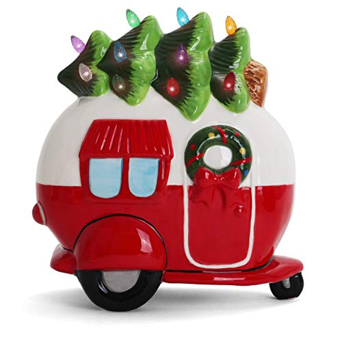 Ceramic Christmas Camper With Christmas Tree Lights