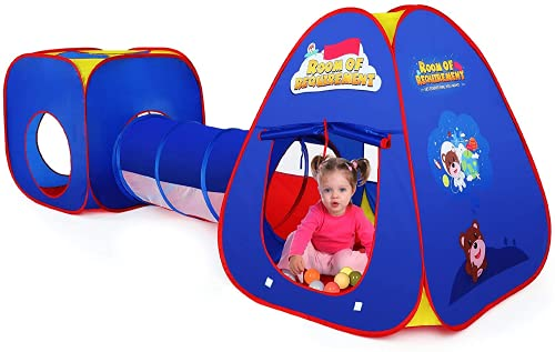 Authentic Maker Tenda Gioco per Bambini,3 in 1 Tunnel Gioco per Bambini Tenda per Bambini Pieghevole Pop Up di Tenda Interno / Esterno Tunnel da Gioco Bambini Tenda Giocattolo ,Borsa per Il Trasporto