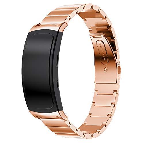 Yikamosi Compatible avec Samsung Gear Fit 2 Pro/Fit 2 Bracelet,Métal en Acier Inoxydable Replacement SmartWatch Bracelet Strap Bands pour Samsung Gear Fit 2 Pro SM-R365/Fit 2 SM-R360(O-Rose Gold)