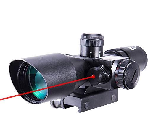 Pinty Taktisches Zielfernrohr mit rotem Laser, 2,5 - 10 x 40 mm, mil-dot
