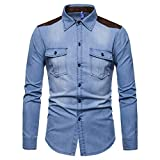 Camisa de Mezclilla de Retazos con Costuras para Hombre, Ropa de Calle a la Moda, Camisa de Manga Larga con Dos Bolsillos Lavada, Informal, Regular 3XL