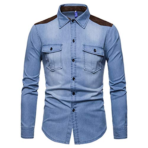 Camisa de Mezclilla de Retazos con Costuras para Hombre, Ropa de Calle a la Moda, Camisa de Manga Larga con Dos Bolsillos Lavada, Informal, Regular L