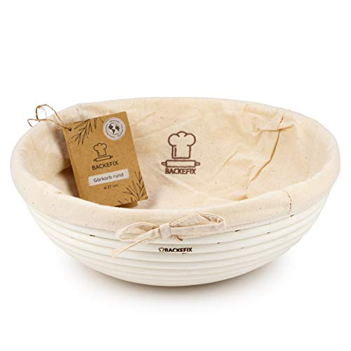 BackeFix runder Gärkorb Brotform für selbstgemachtes Brot - Zero Waste Natur Gärkörbchen Ø 27cm