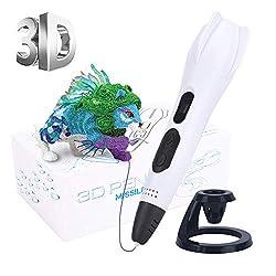 3D Druckstift, 3D stift für Kinder mit PLA Filament 12 Farben 1,75mm 120ft LCD Display Einstellbare Temperatur/Geschwindigkeit Kreatives DIY Geschenk, Kompatibel mit 1,75mm ABS/PLA Glühfaden