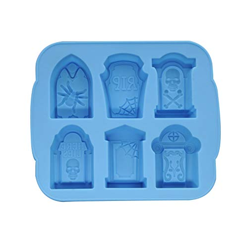 Delisouls Bandeja de 6 celdas con forma de lápida para hielo con tapa, molde de silicona para Pascua