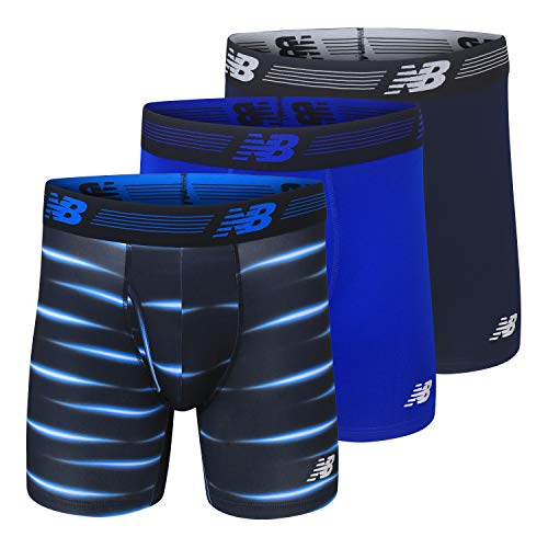 """New Balance Men's 6"""" Boxer Brief Fly Front with Pouch, 3-Pack, Pigment/Team Royal/Bolt Flare, Large"""