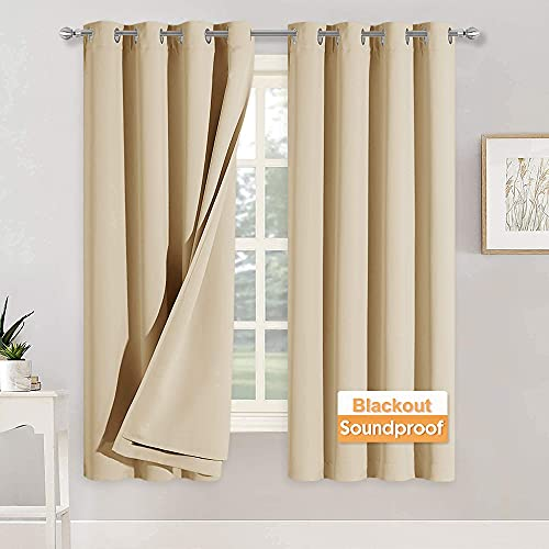 RYB HOME Soundproof Curtains for Bedroom -...