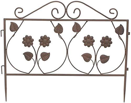 Steckzaun Blume aus Metall, braun, 57x45 cm, Dekozaun, Gartenzaun, Teichzaun, Beet-Begrenzung