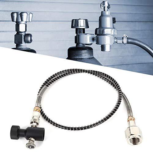 Soda Slangadapterkit, CGA320 36 tum galvanisering + polyuretan soda fjäderslang galvaniserad CO2-adapter med frigöringsventil svart ASA för soda Stream