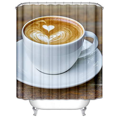 DOLOVE Duschvorhang Antibakteriell Anti Schimmel Herzförmiger Cappuccino Duschvorhang Waschbar 150x200 cm Duschvorhang Bunt