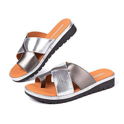Sandalias Mujer Plataforma Verano Chanclas con Cuña Ortopedicas Zapatos de Playa 02 Gris Talla 35