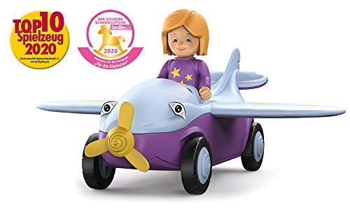 Toddys by siku 0109, Conny Cloudy, 3-teiliges Flugzeug, Zusammensteckbar, Inkl. beweglicher Spielfigur, Hochwertiger Schwungradmotor, lila/hellblau, Ab 18 Monaten