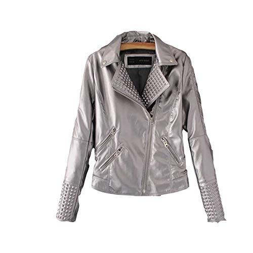 JIER Damen Nieten Bikerjacke Frauen Lederjacke Winter Jacket Übergangsjacke Jackets Oblique Zip Punk Kunstleder Moto Jacke Mantel Outwear (Silber,Medium)