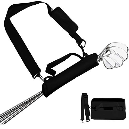Lightweight Golf Club Bags for Men Women Kids Mini with Accessories Pouch Durable Driving Range Course Clubs Carrier Sunday Bag (Black)