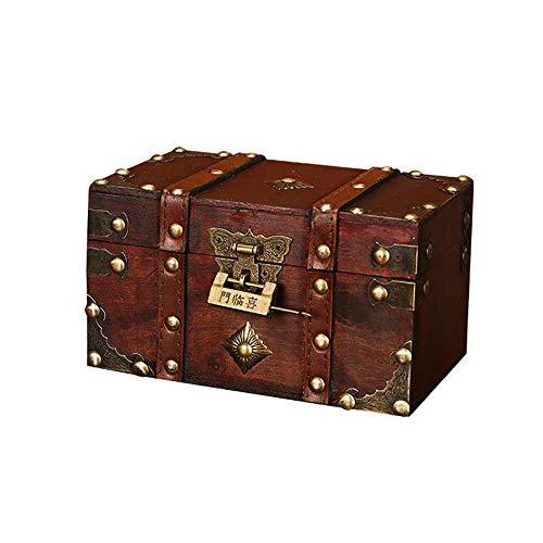 IWILCS Holz-Schatzkisten, Kleine Schatztruhe aus Holz, Piratenschatztruhe, Mini-Schatztruhe, Schatztruhen aus Holz mit Schloss und Schlüssel für Aufbewahrung und Dekoration