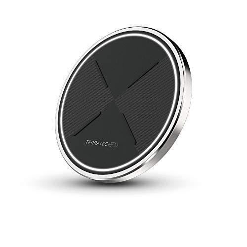 TerraTec ChargeAIR dot Wireless Charger Ladepad, Kabelloses 10W QI Ladegerät, Kompatibel mit 11/11 Pro/11 Pro Max/XS MAX/XR/XS/X/8/8+, Galaxy Note 10/S10e/S10/S9, AirPods - inklusive Netzteil, 257478