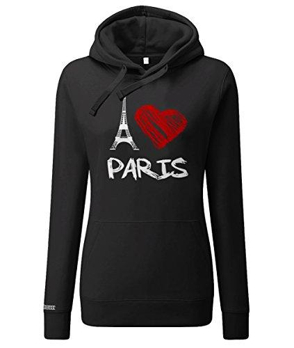 Jayess I Love Paris Eifelturm - Damen Hoodie in Schwarz by Gr. XXXL