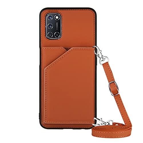 Funda para Xiaomi Poco M3 / Redmi 9T con Cuerda, Carcasa Cuero Premium PU Suave Case con Correa Colgante Ajustable Collar Correa de Cuello Cadena Cordón Ranuras para Tarjetas Anti-Choque Cover, Marrón