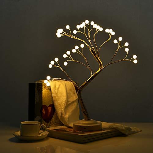 JJ POWER Bonsai Tree Light Home Docor Table Lamp LED DIY Decorative Light USB Battery Operated (36LED Pearl- Warm White,...