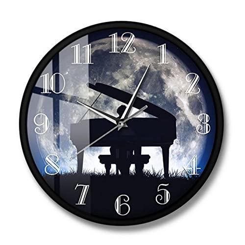 LWXJK Hombre Tocando el Piano con la Luna Reloj de Pared Decorativo Músico clásico Arte de la Pared Pianista Decoración del hogar Movimiento silencioso Reloj de pared-30x30CM