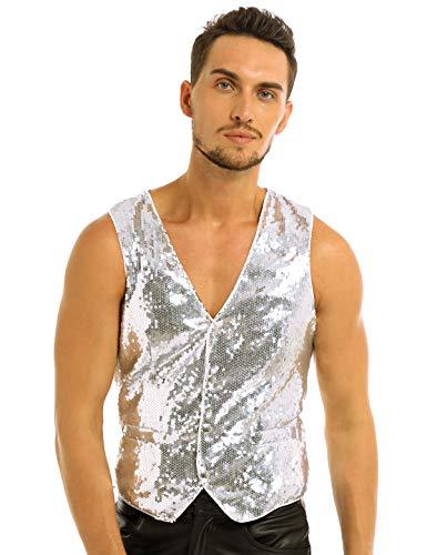 JEATHA Men's Sparkly Sequins Tuxedo Vest V-Neck Button Down Party Dressy Suit Waistcoat Silver Medium