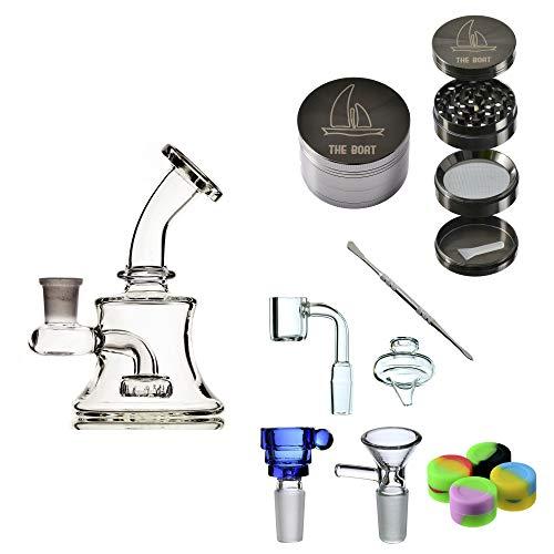 THE BOAT Bong Cristal Ana 13 cm - con percolador + Grinder + Bowls + Accesorios. Hecho a Mano - para su Uso en Tabaco.