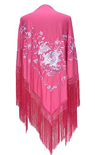 La Señorita Mantones bordados Flamenco Manton de Manila rosa flores blanco Large