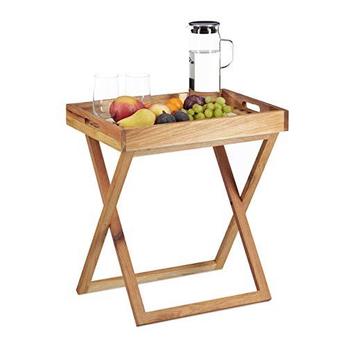 Relaxdays Table d'appoint avec plateau amovible en bois table pliante café pliable service HxlxP: 54 x 52 x 36 cm