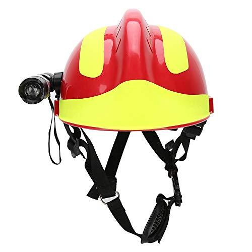 Hopcd Cascos de Seguridad de Rescate de Emergencia, Casco de Protección contra Incendios Aiti-Impact con Faro y Gafas + tamaño Ajustable 53cm-63cm/20.9-24.8in