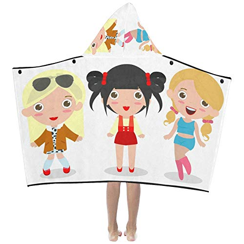 Young Ladies Girls Best Friend Forever Soft Warm Cotton Blended Kids Dress Up Hooded Wearable Blanket Bath Towels Throw Wrap for Toddlers Child Girls Boys Size Home Travel Picnic Sleep Gifts Beach