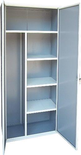 SecureBay - Armario para escobas de aluminio blanco y metal 80 *Envío gratuito*