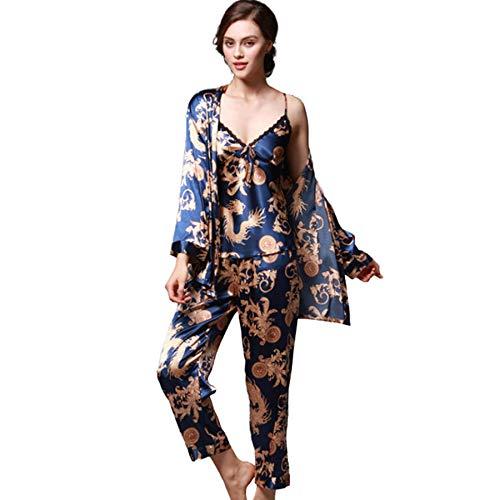 qazxsw Damen Pyjama Nachtwäsche Nachthemd Damen Langarm Frühling Sommer Gedruckt...