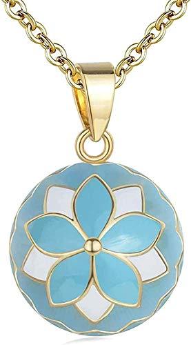 banbeitaotao Collar Blue Flower Ball Harmony Sound Music Ball Bola Colgante Embarazo Bola Harmony Colgante Bebé Mamá Regalo Joyería Collar de 45 Pulgadas