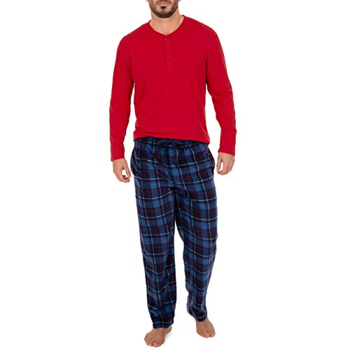 IZOD Men's Microfleece Pant and Jersey Knit Long Sleeve Henley Top Set, Red, Small