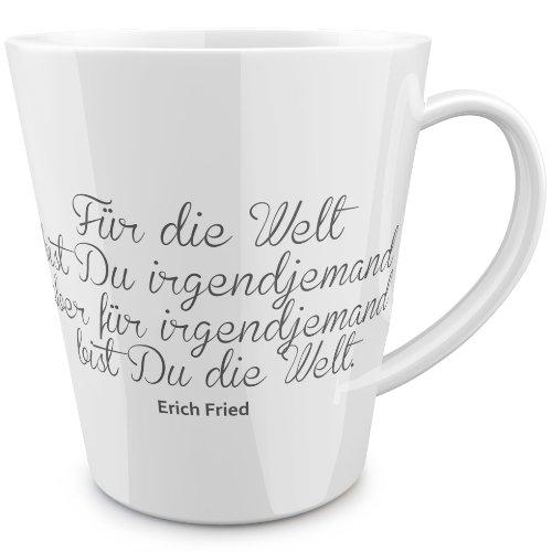 FunTasstic Für die Welt bist Du irgendjemand. konische Tasse 100% handmade in Deutschland - zum Tee, Kaffee, als Geschenkidee mit Spruch, witzig, Küche Deko