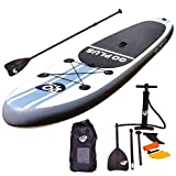 Goplus Inflatable Stand up Paddle Board Surfboard SUP Board with Adjustable Paddle Carry Bag Manual Pump Repair Kit Removable Fin for All Skill Levels, 6' Thick (White, 10')