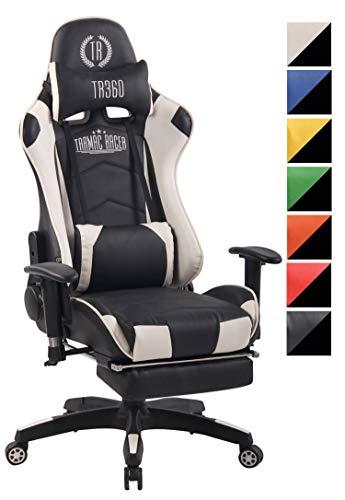 CLP Chefsessel Turbo XFM Kunstleder mit Massagefunktion l Höhenverstellbarer Bürostuhl mit ausziehbarer Fußablage und beheizbarem Sitzbereich schwarz/weiß