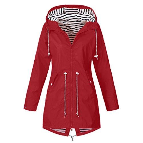 FNKDOR Manteau de Pluie Solide pour Femmes Vestes D'extérieur Imperméable Trench Coat à Capuche Imperméable Coupe-Vent(Rouge,M=FR(38))