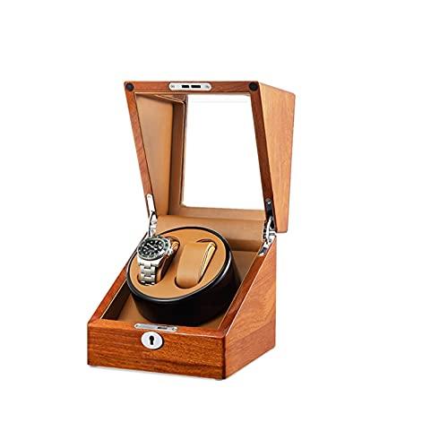 ZCXBHD Caja de reloj doble de madera automática, con motor silencioso de 5 modos de rotación, carcasa de madera y piel de color café negro, apto para mujeres y hombres