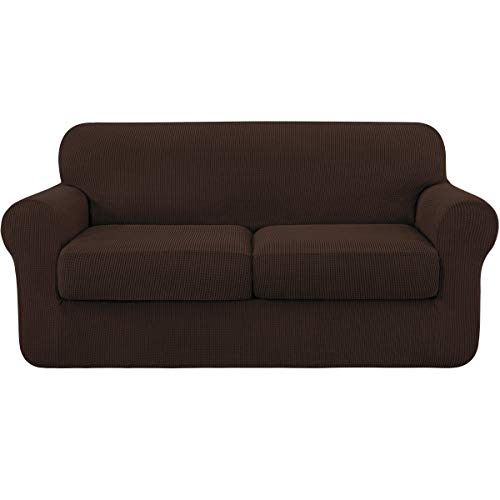 subrtex Funda para sofá de 2 plazas con 2 fundas de almohada, funda elástica de dos plazas (2 plazas), color chocolate