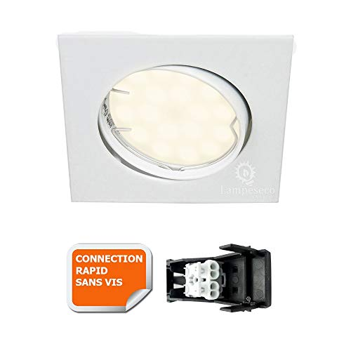 SPOT ENCASTRABLE ORIENTABLE CARRE LED SMD GU10 230V BLANC RENDU ENVIRON 50W HALOGENE
