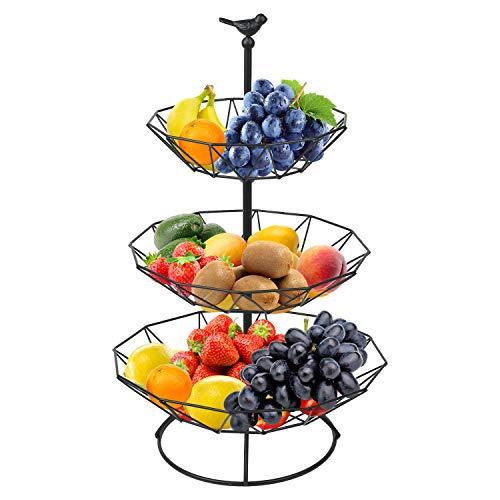 zicheng maoyi - Alzata per frutta a 3 piani in metallo, con 2 ciotole di frutta, rimovibili, per snack e caramelle, per la decorazione della casa, cucina, colore nero